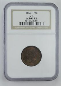 MS64 RB 1855 BRAIDED HAIR HALF CENT   C 1   GRADED NGC  4062