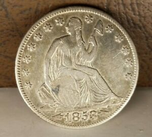 1853 O LIBERTY SEATED HALF DOLLAR WITH ARROWS & RAYS SILVER 50C