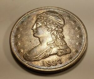 1837 REEDED EDGE  50 CENTS REVERSE  CAPPED BUST 1/2 DOLLAR NICE COIN