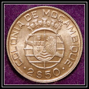 SILVER 1950 MOZAMBIQUE 2 1/2 ESCUDOS KM 68  EXCELLENT COIN SEE PICS  LOW START