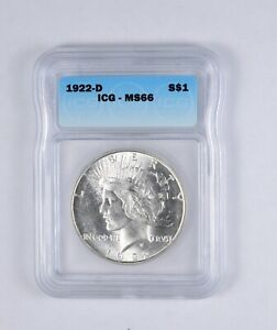 MS66 1922 D PEACE SILVER DOLLAR   GRADED ICG  2084
