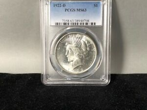 1922 D PCGS MS 63 PEACE SILVER DOLLAR  ORIGINAL COIN  LOTS OF LUSTER
