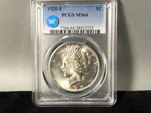 1925 S PCGS MS 64 PEACE SILVER DOLLAR   SIGHT WHITE CERTIFIED   BLAST WHITE