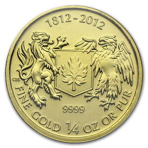 2012 CANADA 1/4 OZ GOLD $10 WAR OF 1812 BU   SKU 78440