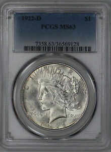 1922 D PEACE SILVER DOLLAR $1 PCGS CERTIFIED MS 63 MINT STATE UNCIRCULATED  128