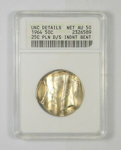 UNC DETAILS 1964 KENNEDY HALF DOLLAR 25C PLN D/S INDENT BENT GRADED ANACS  6317