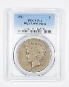 F12 1921 PEACE SILVER DOLLAR   HIGH RELIEF   GRADED PCGS  8562