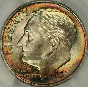 Click now to see the BUY IT NOW Price! 1951 ROOSEVELT DIME PCGS MS68FB