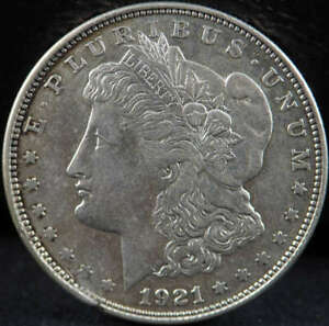 1921 D MORGAN SILVER DOLLAR ABOUT UNCIRCULATED  AU  WITH LARGE CUD   SKU 104US