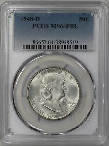 1948 D FRANKLIN HALF DOLLAR 50C PCGS CERTIFIED MS 64 FBL FULL BELL LINES  519