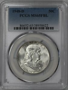 1948 D FRANKLIN HALF DOLLAR 50C PCGS CERTIFIED MS 65 FBL FULL BELL LINES  622