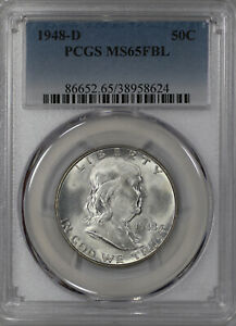 1948 D FRANKLIN HALF DOLLAR 50C PCGS MS 65 FBL UNCIRCULATED FULL BELL LINES  624