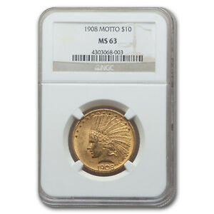 1908 $10 INDIAN GOLD EAGLE W/MOTTO MS 63 NGC   SKU158859