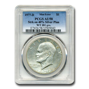 Click now to see the BUY IT NOW Price! 1977 D EISENHOWER DOLLAR AU 58 PCGS  STRUCK ON 40  SILVER PLAN.    SKU209942