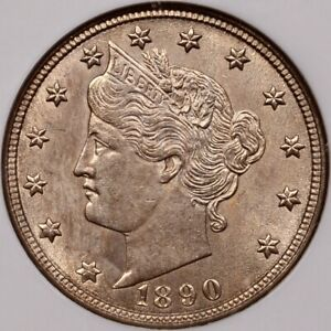 1890 BETTER DATE LIBERTY V NICKEL NGC MS61 GREAT QUALITY   DAVIDKAHNCOINS