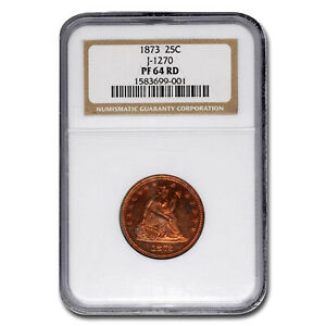 Click now to see the BUY IT NOW Price! 1873 LIBERTY SEATED QUARTER PATTERN PF 64 NGC  RED J 1270    SKU210204