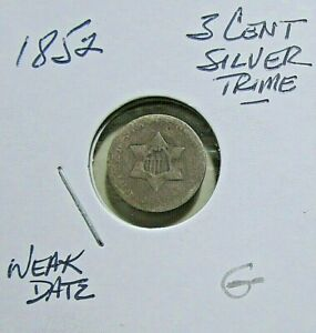 1852 3C SILVER TRIME   GOOD ENTRY DETAILS  OBSOLETE COIN