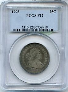 Click now to see the BUY IT NOW Price! 1796 DRAPED BUST QUARTER PCGS F12 25C COIN CERTIFIED   JJ049