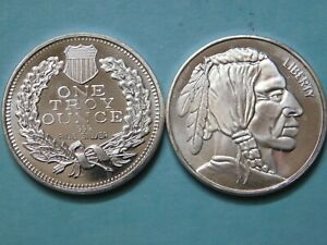Click now to see the BUY IT NOW Price! VINTAGE INDIAN HEAD OBV. & REV. 1 ONE TROY OZ. OUNCE .999 FINE SILVER ROUND