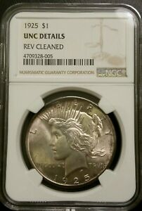1925 NGC UNC DETAILS SILVER PEACE DOLLAR SUPER CLEAN US COIN