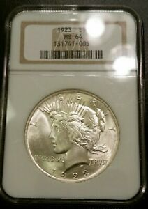 1923 NGC MS64 SILVER PEACE DOLLAR SUPER CLEAN US COIN