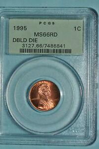 LINCOLN CENT 1995 P DOUBLE DIE PCGS MS66 RD OGH