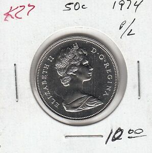 K27 CANADA 50C COIN 1974 PROOF LIKE CHARLTON $10.00