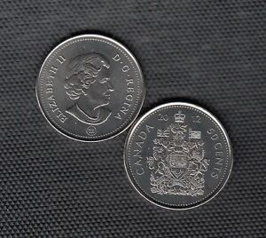 K45 CANADA 50C COIN 2012MM BU FROM A ROYAL CANADIAN MINT SET   CHARLTON $10.00