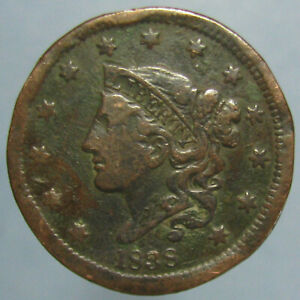 1838 CORONET LARGE CENT   FINE DETAILS WITH SOME DAMAGE