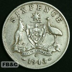 WW2 1943 D AUSTRALIA SIXPENCE SILVER COIN KM38 GEORGE VI