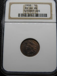 1908 1C INDIAN HEAD CENT NGC MS 64 RB   TWO TONE BOTH WITH LOTS OF RED