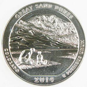 2014 GREAT SAND DUNES AMERICA THE BEAUTIFUL NATIONAL PARK 5 OZ SILVER COIN BU