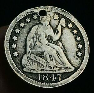 1847 SEATED LIBERTY HALF DIME 5C HIGH GRADE HOLED FILLER US SILVER COIN CC1619