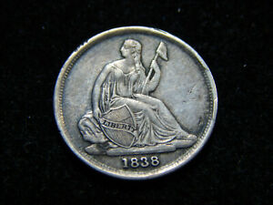 1838 O 10C SEATED LIBERTY DIME NO STARS XF TOUGH DATE