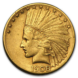 1908 D $10 INDIAN GOLD EAGLE W/MOTTO XF   SKU150922