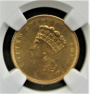 1854 O 3 DOLLAR GOLD PRINCESS NGC ABOUT UNCIRCULATED     CLEANED