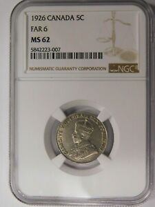 CANADA 1926 5 CENTS FAR 6 NGC MS 62   OPPORTUNITY