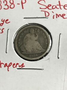 1838 P SEATED LIBERTY DIME LARGE STARS NO DRAPERY
