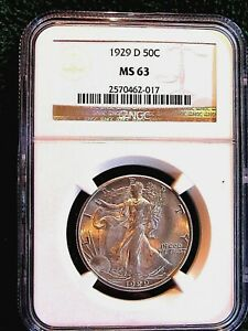 1929 D WALKING LIBERTY HALF DOLLAR..NGC  MS 63 .WHITE LUSTER QUALITY
