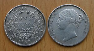 BRITISH INDIA INDIEN : ONE RUPEE 1840     VICTORIA     SILBER     TOP