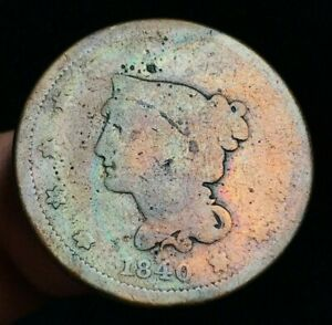 1840 US LARGE CENT MATRON BRAIDED HAIR 1C SMALL DATE TONED US COPPER COIN CC1587