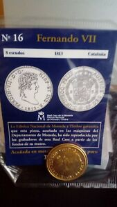 FANTASY COIN 8 ESCUDOS 1813 FERNANDO VII WITH PURE GOLD BATH  SPAIN