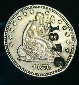 1876 SEATED LIBERTY QUARTER 25C COUNTERSTAMP HIGH GRADE AU US SILVER COIN CS1886
