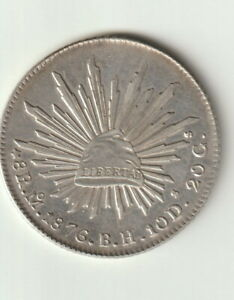 MEXICO 8 REALES SILVER COIN 1876 MO BH NICE UNCIRCULATED CONDITION KM377.10