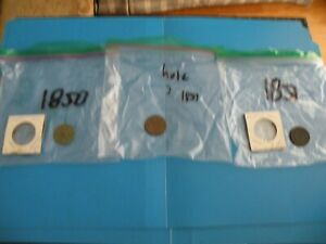 LOT OF 3 LARGE CENT PENNY 1 C ONE PENNY 1850 1851 1851 M7