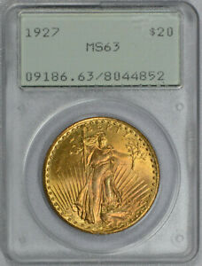 1927 $20 SAINT GAUDENS GOLD DOUBLE EAGLE PCGS GRADED MS 63     RATTLER OGH