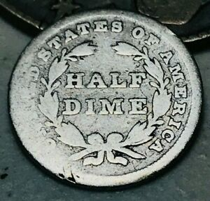 1837 SEATED LIBERTY HALF DIME 5C LARGE DATE NO STARS TYPE US SILVER COIN CC2085