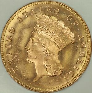 1884 $3 GOLD NGC MS65