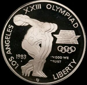 PROOF 1983 S AMERICAN EAGLE LOS ANGELES OLYMPICS  90  SILVER DOLLAR