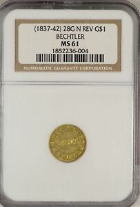 Click now to see the BUY IT NOW Price! 1837 42 PIONEER GOLD $1 DOLLAR 28G N REV BECHTLER NGC MS61 CERTIFIED COIN JY664
